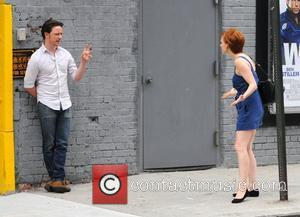 Jessica Chastain and James McAvoy on the set of their new movie 'The Disappearance of Eleanor Rigby' in Manhattan New...