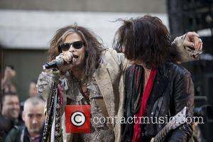 Steven Tyler, Joe Perry Aerosmith performing live during the 'Today Show' concert series at the NBC Studios Rockerfeller Plaza in...