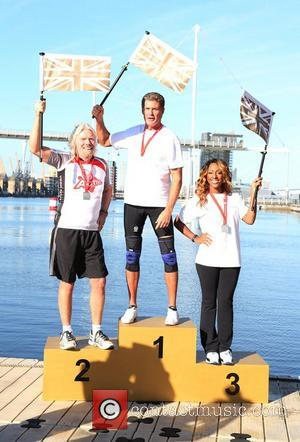 Sir Richard Branson, David Hasselhoff and Alexandra Burke Virgin Active London Triathlon - photocall at The Excel Centre London, England...