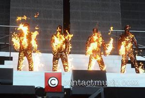 Westlife (Kian Egan, Shane Filan, Mark Feehily, Nicky Byrne), on fire on stage  The final ever performance of record...