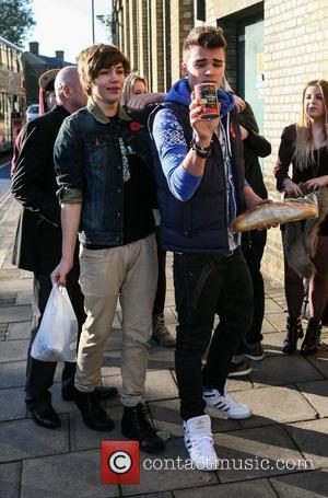 George Shelley and Josh Cuthbert of Union J 'The X Factor' contestants arrive at the rehearsal studios London, England -...