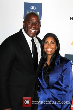 Magic and Cookie Johnson - Clive Davis & The Recording Academy's 2013 Pre-Grammy Gala Los Angeles California United States Saturday...