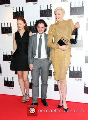 Sophie Turner, Gwendoline Christie and Kit Harington accept the Best TV Show winner for Game of Thrones - The Elle...