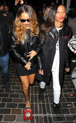 Rihanna and Cara Delevingne - Rihanna and Cara Delevingne party together at The Box club at London Fashion Week -...
