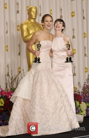 Anne Hathaway and Jennifer Lawrence - The 85th Annual Oscars at Hollywood & Highland Center - Press Room - Los...