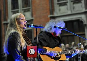 Brian May and Kerry Ellis - Artists perform at St. Pancras Station to raise awareness for the 'Born Free Foundation'....