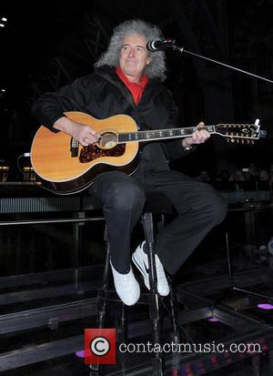 Brian May - Artists perform at St. Pancras Station to raise awareness for the 'Born Free Foundation' - London, United...