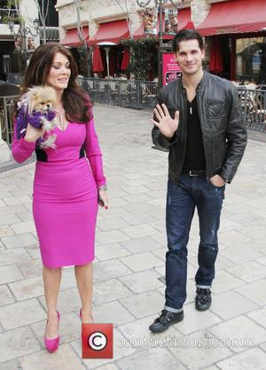 Lisa Vanderpump, Dog Giggy and Gleb Savchenko - Celebrities at The Grove to appear on entertainment news show 'Extra' -...