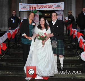 Bride Claire Gilchrist with father and Miranda Hart - The BT Red Nose Challenge: Miranda's Mad March - Finish -...