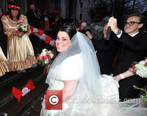 Tom Fletcher, Dawn French and bride Claire Gilchrist - The BT Red Nose Challenge: Miranda's Mad March - Finish -...