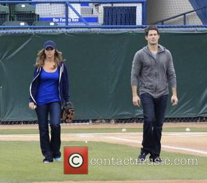 Jennifer Love Hewitt and co-stars, Brian Hallisay and Rebecca Fields, seen filming a baseball scene for 'The Client List' -...