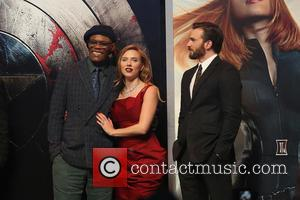 Samuel L. Jackson, Scarlett Johansson and Chris Pine - Captain America: The Winter Soldier - UK film premiere held at...