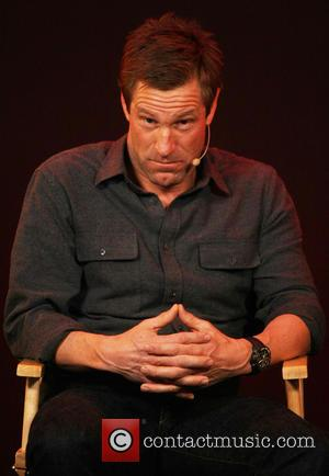 Aaron Eckhart - Gerard Butler and Aaron Eckhart promote their new movie 'Olympus Has Fallen' at the Apple store on...