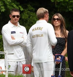 Elizabeth Hurley, Shane Warne and Michael Clarke - Elizabeth Hurley and Shane Warne host a cricket match between an Australian...