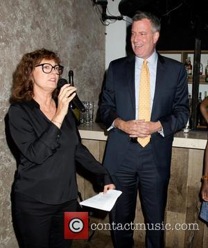 Susan Sarandon and Bill de Blasio - Susan Sarandon Hosts Ping Pong Event for Bill de Blasio Campaign at Spin...