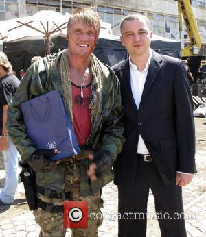 Dolph Lundgren and Ivan Portnih - The mayor of Varna Ivan Portnih visits the 'Expendables 3' film set - Varna,...