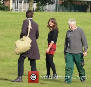 Jenna Coleman and Matt Smith - Matt Smith and Jenna-Louise Coleman filming the Dr Who Christmas special in Cardiff -...