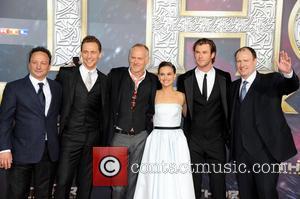 Louis D Esposito, Tom Hiddleston, Alan Taylor, Natalie Portman, Chris Hemsworth and Kevin Feige