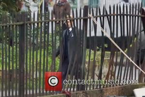 Johnny Depp - Johnny Depp on the set of new film 'Mortdecai' filming in London - London, United Kingdom -...
