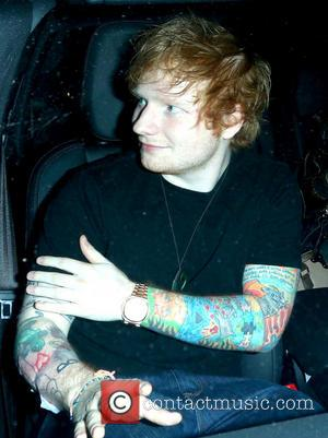 Ed Sheeran - Ed Sheeran leaving a tattoo shop in West Hollywood. The singer appears to have a plastic cover...