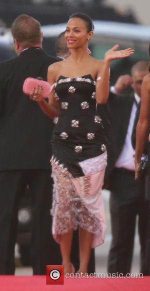 Zoe Saldana - 71st Annual Golden Globe Awards held at the Beverly Hilton Hotel - Arrivals - Los Angeles, California,...