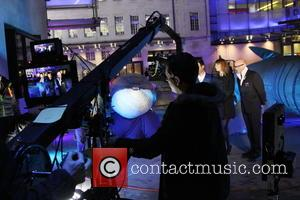 Alex Jones and Harry Hill - Late night filming of BBC 1's The One Show outside BBC studios - London,...