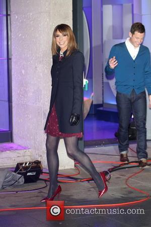 Alex Jones and Matt Baker - Late night filming of BBC 1's The One Show outside BBC studios - London,...