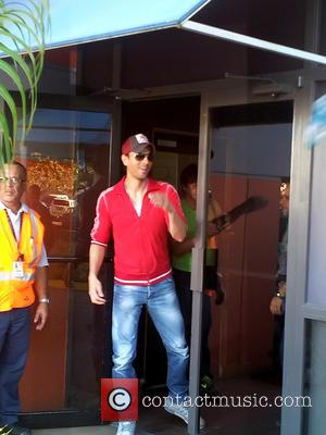 Enrique Iglesias - Enrique Iglesias arrives at Luis Munoz Marin International Airport ahead of his Puerto Rico concert on Valentine's...