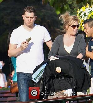 Michael Buble - Michael Buble with his wife Luisana Lopilato and family visit Disneyland - Anaheim, California, United States -...