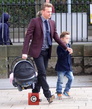 Nicky Byrne, Twins Jay & Rocco Byrne and Gia Byrne - The Christening of Nicky Byrne's daughter Gia at Saint...