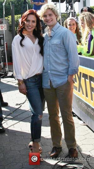 Sharna Burgess and Charlie White - Celebrities appear on 'Extra' at Universal Studios - Los Angeles, California, United States -...