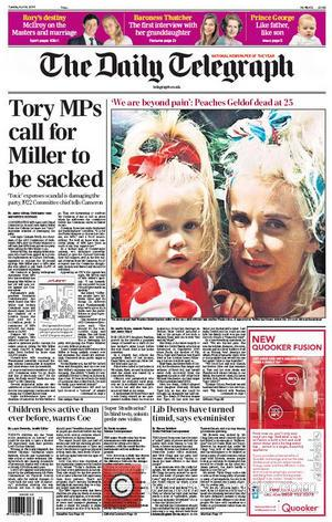 The Daily Telegraph - Yates died from a drug and alcohol overdose in 2000. - United Kingdom - Tuesday 8th...