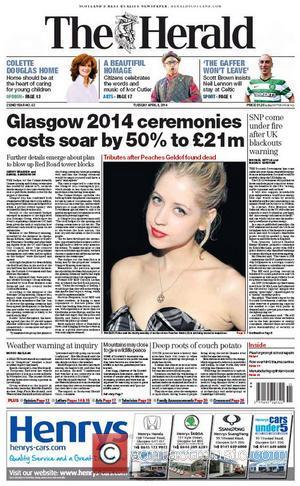 Peaches Geldof and The Herald (scotland)