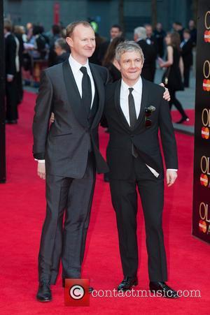 Mark Gatiss and Martin Freeman - Olivier Awards 2014 held at the Royal Opera House - Arrivals - London, United...