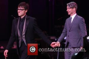 Stephen Trask and John Cameron Mitchell - Opening night curtain call for Hedwig and the Angry Inch at the Belasco...