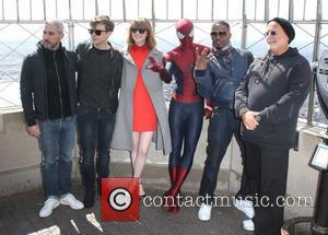 Emma Stone, Matthew Tolmach, Dane Dehaan, Avi Arad, Spider Man and Jamie Foxx