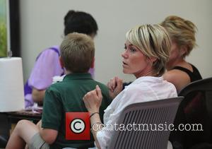 Sharon Stone, Quinn Kelly Stone and Kelly Stone - Sharon Stone visits the Beverly Hills Nail Design with her son...