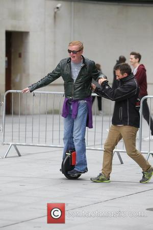 Chris Evans - Alex Jones and Chris Evans seen arriving and filming The One Show outside BBC House. They were...