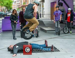 Chris Evans, Alex Jones and Guest - Chris Evans and Alex Jones, The One Show presenters watch on as a...