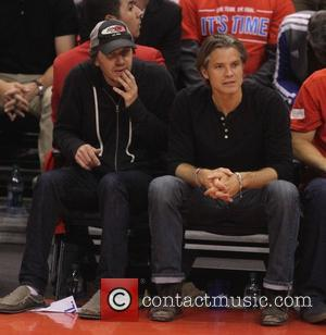 Timothy Olyphant - Celebrities watch the Los Angeles Clippers playoff game at the Staples Center. The Oklahoma City Thunder defeated...