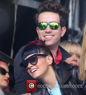 Lily Allen and Nick Grimshaw - Lily Allen and Nick Grimshaw watch One Direction's performance on the Main Stage of...