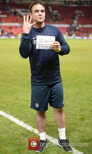 Robbie Williams - Soccer Aid 2014 at Old Trafford - Manchester, United Kingdom - Sunday 8th June 2014