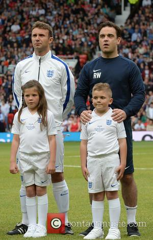 Robbie Williams and Jonathan Wilkes - Soccer Aid 2014 at Old Trafford - Manchester, United Kingdom - Sunday 8th June...