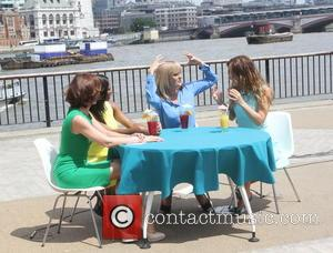 Myleene Klass, Andrea McLean, Jamelia and Kaye Adams - ITV's 'Loose Women' films outside at South Bank, featuring the panelists...