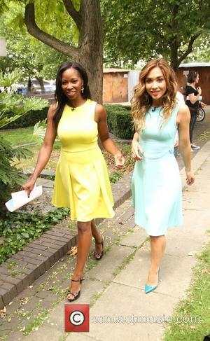 Myleene Klass and Jamelia - ITV's 'Loose Women' films outside at South Bank, featuring the panelists in bright coordinated colors...