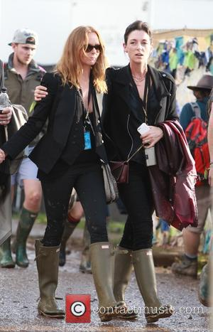 Stella McCartney and Mary McCartney - Glastonbury Festival 2014 - Celebrity sightings and atmosphere - Day 3 - Glastonbury, United...
