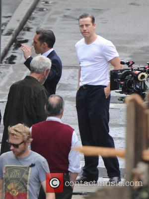 Tom Hardy and Tom Hardy's stunt double - Tom Hardy on the set of Legend movie in London - London,...