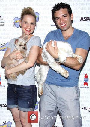 Anika Larsen and Jarrod Spector - Broadway Barks 16, a star-studded animal adoption event held in Shubert Alley - Arrivals....