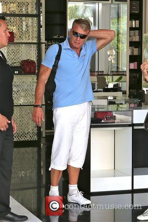 Dolph Lungren - Dolph Lundgren leaves Ivy restaurant with female  and looks shy about being caught, then walks into...