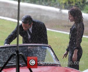Tom Hardy and Emily Browning - Tom Hardy and Emily Browning on the set of the film 'Legend' in East...